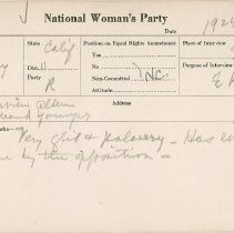 Image of National Woman's Party Congressional Voting Card Collection - 1924.020.001