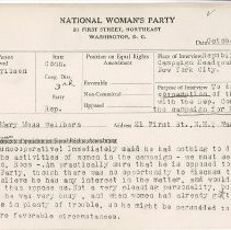 Image of National Woman's Party Congressional Voting Card Collection - 1928.002.001
