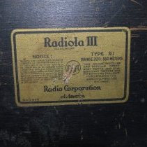 Image of Radiola Battery Back Label