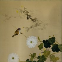 Image of Yomo Shunsui,Sparrow and Chrysanthemums, Meiji Period, ca. 1890, Ink and Wa