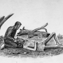 Image of Ben Steele, Helping Buddy No 1, ca. 1945-47, charcoal
