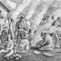 Image of Ben Steele, Cooking Rice-Tayabas Road, ca.1945-1947,Charcoal on Paper