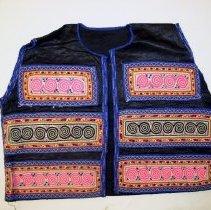 Image of Lo Mee Ly, Tshos Khuam (Money Vest), Sam Neua, Laos, Hmong, Satin/Silk