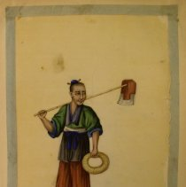 Image of Unknown,Hand-painted early19thCent.pages(laborer),Chinese,milk paint/ricepa