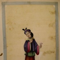 Image of Unknown,Hand-painted early19thCent.pages(court lady),Chinese,milk paint/ric