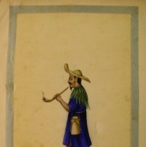 Image of Unknown,Hand-painted early19thCent.pages(drummer),Chinese,milk paint/ricepa