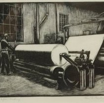Image of Charles R Gardner, Paper Making, 1939, Wood Engraving, 8x7in