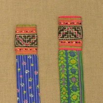 Image of Pa Song, Neck Scarves (tw sawv hwm), 1950, White Hmong, Cotton/Silk