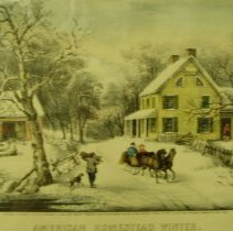 Image of Currier and Ives, American Homestead Winter, 1868, Print, 11x15in
