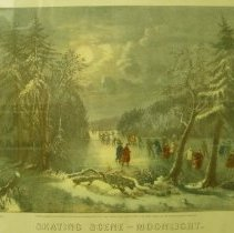 Image of Currier and Ives,The Skating Scene-Moonlight,1868,Print,9x12in