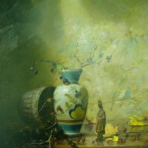 Image of Delbert Gish,Japanese Vase with Basket, Oil, 23x19in