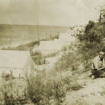 Image of Dunes, Indiana - Tents - Looking East from Beach House - 1917 - pc-6-6-2-i-m