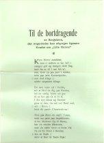 """Image of Sangteksteksten med titlen : """"Til de bortdragende"""" . The lyrics wit the tit"""
