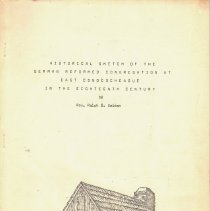 Image of Historical Sketch of the German Reformed Congregation at East Conococgeague in the Eighteenth Century