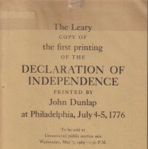 Image of Leary Copy of the First Printing of the Declaration of Independence; - Printed by John Dunlap, at Philadelphia, July 4-5, 1776; To Be Sold at Unrestricted Public Auction Sale, Wednesday, May 7, 1969--1:30  P.M.