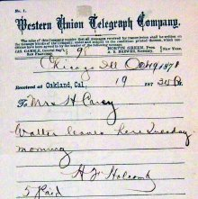 Image of Telegram from Chicago to Walter Wilcox's grandmother