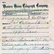 Image of Telegram indicating Walter Wilcox's arrival, 1878