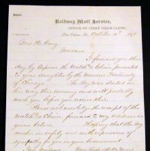 Image of Letter to Wilcox's grandmother concerning watch and chain, 1878