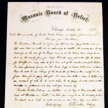 Image of Chicago Masonic Board of Relief letter regarding Wilcox, 1878