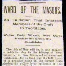 Image of 1895 Newspaper detailing Walter Wilcox's Master Mason degree