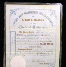 Image of Membership Certificate, California. 1854