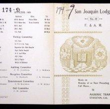 Image of Pocket brochure from San Joaquin Lodge No. 19. Stockton, 1901
