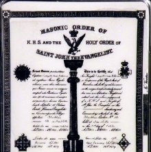 Image of Certificate: Order of the Holy Sepulchre & St. John the Evangelist, English