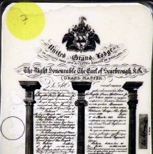 Image of Certificate: Master Mason. English Masonic Constitution, 20th century
