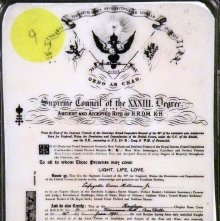 Image of Certificate: 18th degree Ancient & Accepted Rite.  English, 20th century