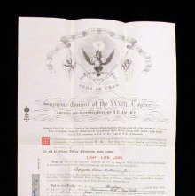 Image of Patent Patent, or membership certificate belonging to Lafayette Oscar Hollo