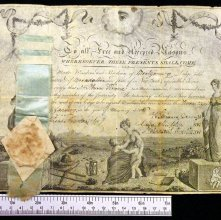 Image of Membership certificate issued to Nathan Frinne. New York, 1806