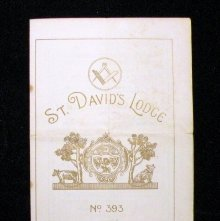 Image of Bulletin/program for the St. David's Lodge, No.393, England