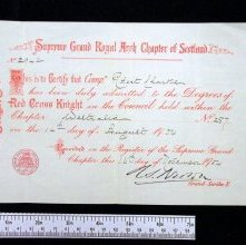 Image of Red Cross Knight membership certificate, Chapter Westralia. 1904