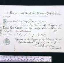 Image of Royal Ark Mariner Membership certificate, Chapter Westralia. 1904