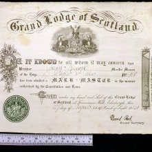 Image of Mark Master membership certificate, Scotland. 1920