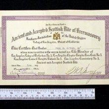 Image of Scottish Rite (S.M.J.) lifetime membership certificate, 1923
