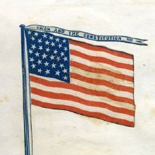 Image of Pro-Union image glued in Charles Austin's autograph book