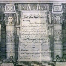 Image of Royal Arch Certificate, Ireland. 1886 Detail