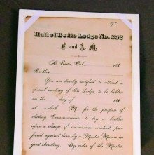 Image of notification:  unmasonic conduct. Issued by Bodie Lodge, 1880s