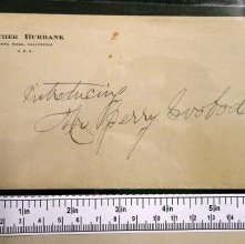 Image of Envelope for letter by Luther Burbank