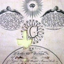 Image of Masonic Certificate, Master Mason; Mississippi, 1850 Detail Top