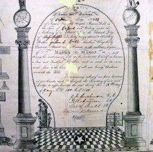 Image of Masonic Certificate, Master Mason; Mississippi, 1850 Detail