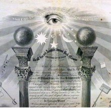 Image of Masonic Certificate, Ohio 1852   Detail Top
