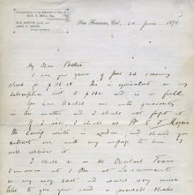 Image of 1876 Letter by Robert Morris (obverse)