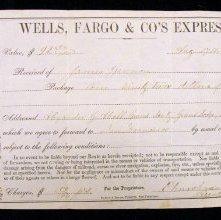 Image of Wells Fargo & Co's Express receipt. 1868
