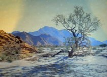 "Image of Stephen Willard original. Oil on photograph. Titled ""Broken Ranges""                                                                                                                                                                                            - 84-015"