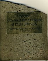 Image of Commemorative roof tile  of the Palm Springs Community Church (1935 - 1985).  - 123-002