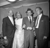 Image of March 29, 1958 Police Show Jimmy Van Huesen, Peggy Lee, Frank Sinatra and Ray Ryan                                                                                                                                                                             - 74-0604