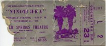 Image of Movie ticket from the Palm Springs Theatre for Ninotchka. November 23, 1939 - 123-027