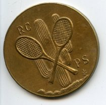 Image of Rain check token from the Racquet Club.  Circa 1930s.                                                                                                                                                                                                          - 100-070